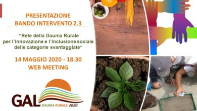 Photo of Agricoltura sociale ed educazione alimentare, il GAL Daunia Rurale 2020 presenta in web meeting il bando 2.3