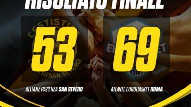 Photo of Basket: ennesima prestazione deludente per l'Allianz Pazienza San Severo, vince l'Atlante Roma 53-69