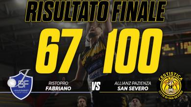 Photo of Basket: Allianz Pazienza Cestistica San Severo corsara, Fabriano asfaltata 67-100